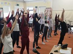 Mental Health Week, Students participating in a Dance workshop with an emphasis on positive mental health.